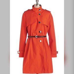 Modcloth If It Makes You Poppy coat in orange